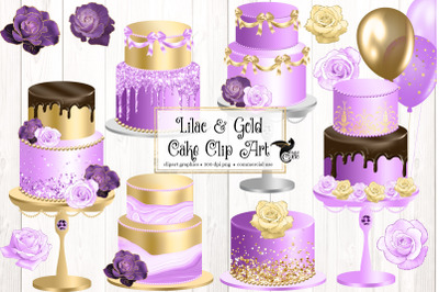 Lilac and Gold Cake Clip Art