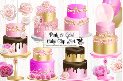 Pink and Gold Cakes Clip Art