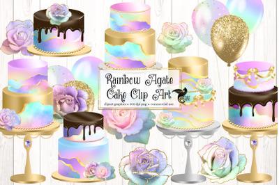 Rainbow Agate Cakes Clip Art