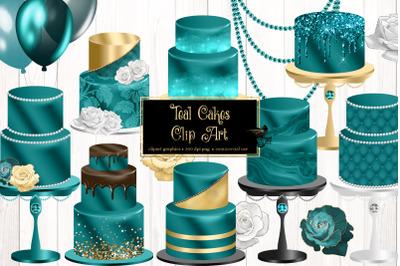 Teal Cakes Clip Art