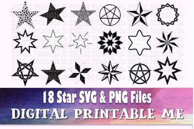 Star svg bundle, silhouette pack, PNG, clip art, 18 Digital, illustrat