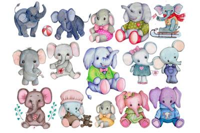 Big set of toy elephants. Watercolor illustrations.