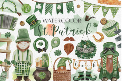 Watercolor St. Patrick Day Clipart. Lucky Gnomes, Shamrock, Irish PNG