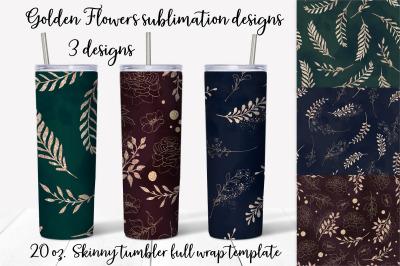 Golden Flowers  sublimation design. Skinny tumbler wrap design.