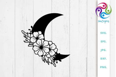 Floral Moon Svg, Half Moon Floral