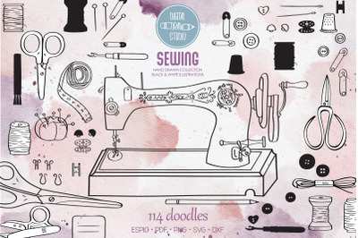 Sewing Doodles | Hand Drawn Vintage Singer Machine, Scissors, Buttons