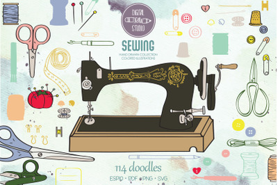 Color Sewing Doodles | Hand Drawn Old Singer Machine, Scissors, Button