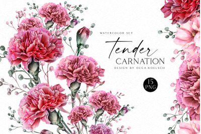 Watercolor carnation clipart,  Dusty pink carnation for Mother's day