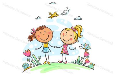 Friends walking outdoors, cartoon girls