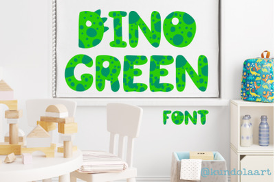 Dino green Font. Color cute dinosaurs alphabet.