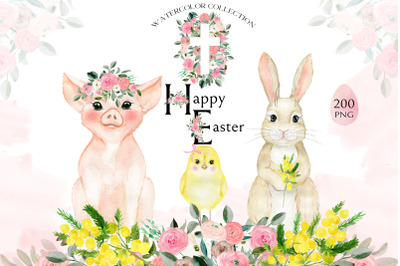 Happy Easter.  Spring  Watercolors
