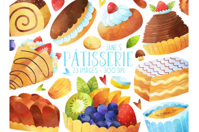 Watercolor French Pastries Clipart