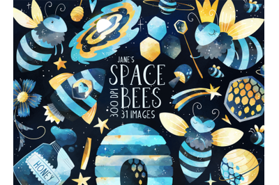 Watercolor Space Bees Clipart