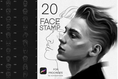 20 Face Men Stamp Brushes Procreate