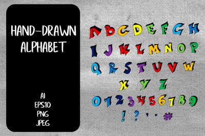 Hand-Drawn Color Alphabet PNG.