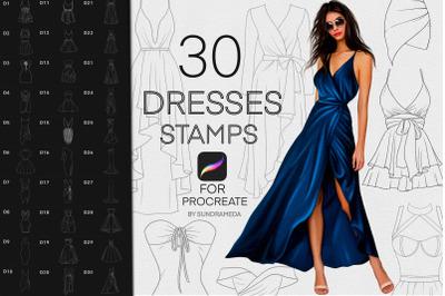 Procreate Fashion Dresses Stamp