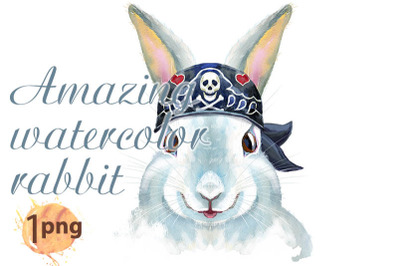 Watercolor illustration of a white rabbit in bandana