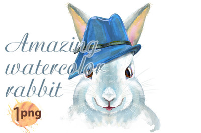 Watercolor illustration of a white rabbit in blue hat