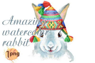 Watercolor illustration of a white rabbit in chullo hat