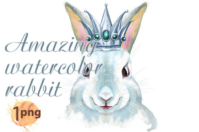 Watercolor illustration of a white rabbit with silver crown