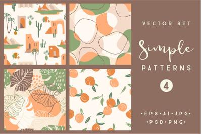 Simple patterns. Vector set of 4 prints
