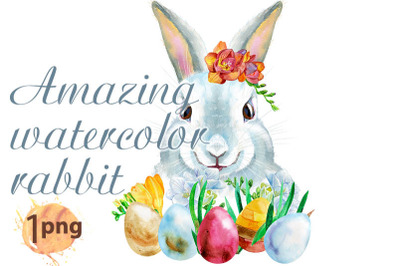 Watercolor illustration of a white rabbit with Easter eggs
