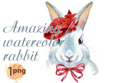 Watercolor illustration of a white rabbit in red hat