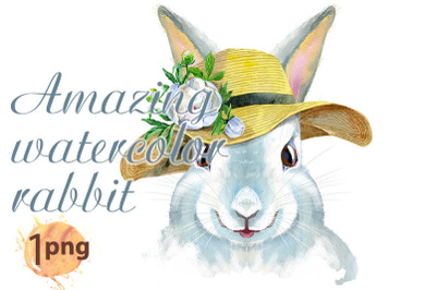 Watercolor illustration of a white rabbit in summer hat with flower