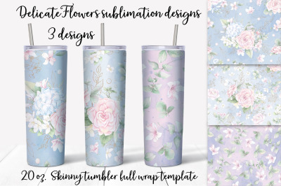 Delicate Flowers  sublimation design. Skinny tumbler wrap design.