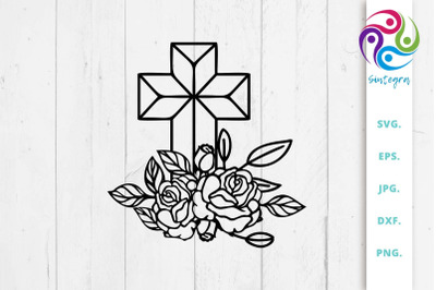 Floral Christian Cross Svg Cut File