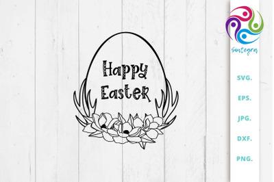 Floral Egg Happy Easter SVG Cut File