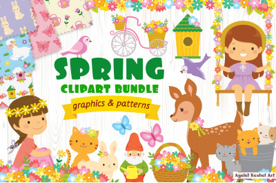 Spring clipart bundle - cute graphics and patterns