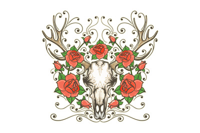 Antler Skull with Rose Flowers Tattoo