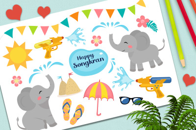 Songkran festival set clip art and pattern