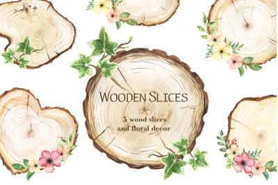 Wooden slices watercolor clipart, floral decor, wood slice clipart
