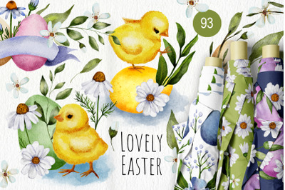 Easter Watercolor Chicken Bundle.
