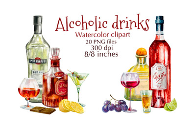 Alcohol Drinks watercolor clipart