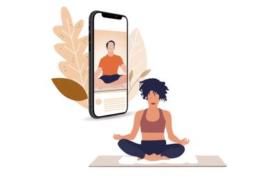 Yoga lesson online, stream live on smartphone