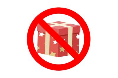 Banned gift icon symbol badge