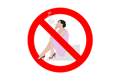 Forbidden cigarette icon, prohibition habit smoke. Not recommended