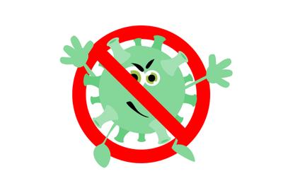 Prohibition coronavirus character, not infected banner, ban illness mi