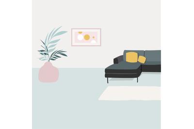 Living room interior with sofa flat design