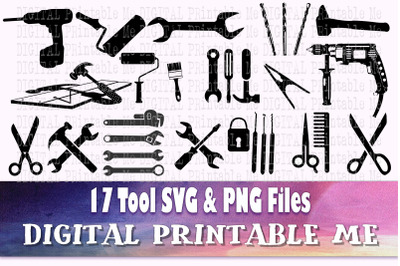 Tool svg, handyman silhouette bundle, PNG, clip art, 17 Digital images