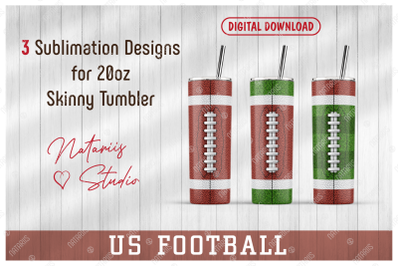 3 US Football Patterns for 20oz SKINNY TUMBLER.