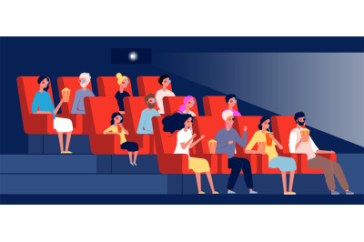 Characters watching movie. Persons sitting in chairs in cinema hall ve