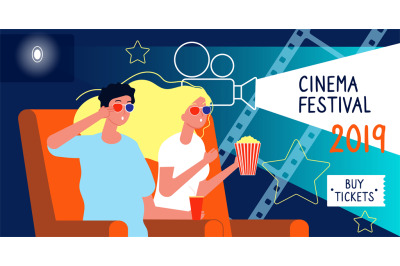 Cinema poster. Film festival concept with happy characters watching fi