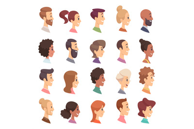 Faces profile. Avatars people expression simple heads male and female