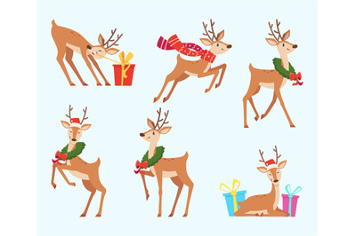 Christmas deer. Cute fairytale animal reindeer in cartoon style vector