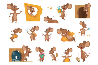 Mouse cartoon. Small mice in action poses lab animals friendly mascot