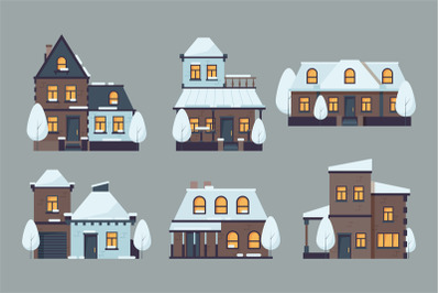 Winter houses. Cute buildings with season snow caps frozen urban archi